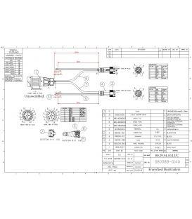 Kabelboom 12 mtr 13 polige stekker 9 mtr. platte aftakking voor boottrailers van 6 tot 12 Mtr. chassis lengte.