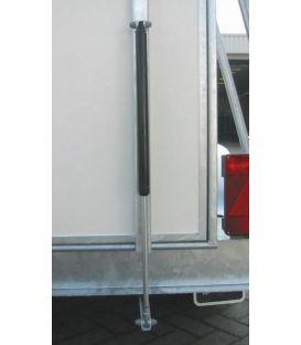 Gasveerdrukveer gemonteerd op achterklep paardentrailer.