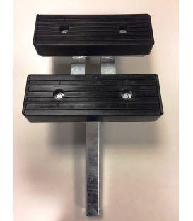 Stelpijp koker 40x40 Lgt. 300mm moer met handvaten en dubbel kussen.